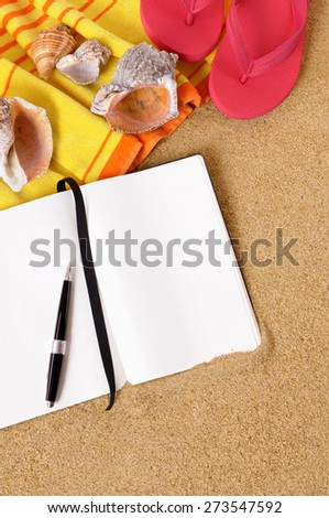 Beach travel background, writing book, pen, copy space, vertical - stock photo