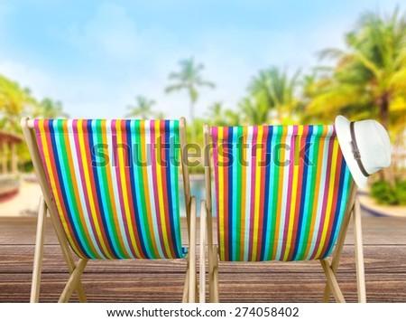 Beach, two, calm. - stock photo
