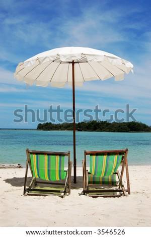 Beach Umbrella and Chairs, Koh Samui, Thailand - stock photo