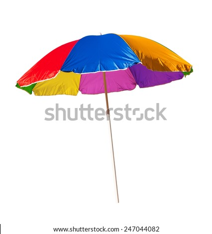 beach umbrella isolated on a white background  - stock photo