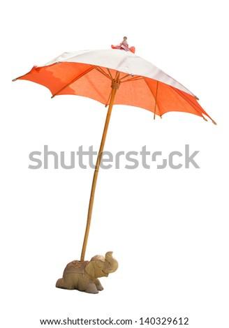 Beach Umbrella isolated on white Background - stock photo