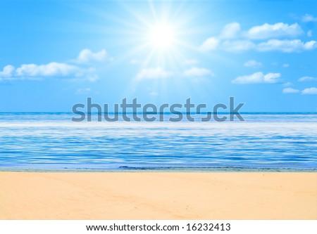 "beach under sun -  of  ""Beach"" multiple series in studio's portfolio - stock photo"