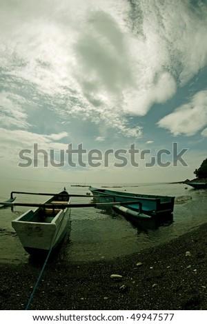 beach view at hukurilla beach, ambon. Tranquil, quiet and pristine - stock photo