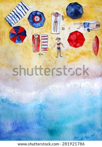 beach view from above, hand-drawn watercolor illustration - stock photo
