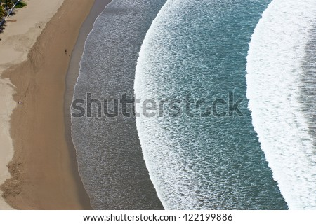 beach view from top with big waves in san juan del sur - stock photo