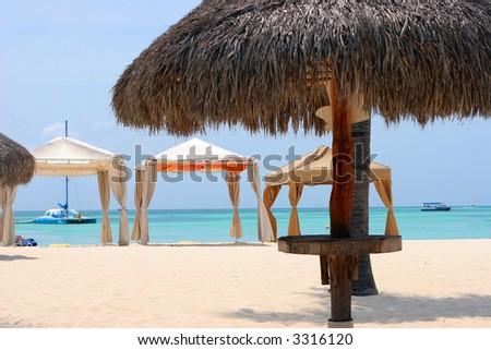 Beach view in Aruba - stock photo