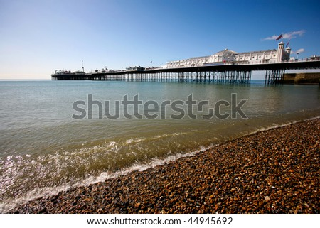 Beach view of Brighton pier, United Kingdom