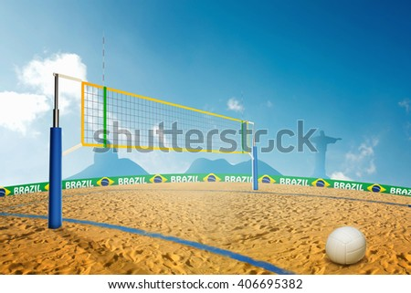 Beach volley 3D Illustration