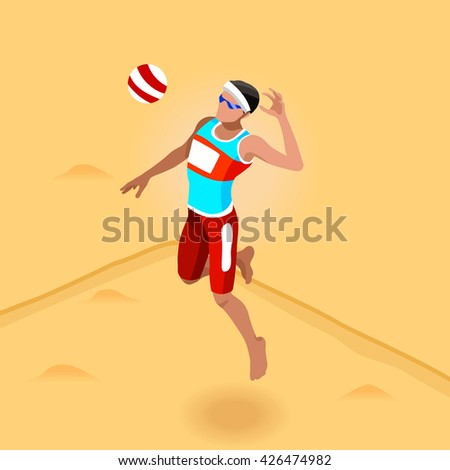 Beach Volley Player 2016 Summer Games Icon Set. 3D Isometric Beach Volleyball. Sporting Championship International Beach Volley Match Competition. Sport Infographic olympics Volley Illustration. - stock photo