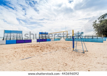 Beach volleyball and cloudy day.This loction in Sattahip Naval Base.Dong Tan is the name of the beach.This location is not far from pattaya.  - stock photo