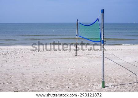 Beach-Volleyball field at a beach - stock photo