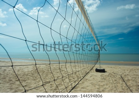 Beach volleyball net with clearly sky - stock photo