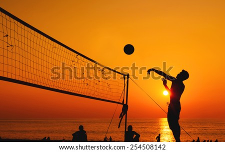 beach volleyball silhouette - stock photo