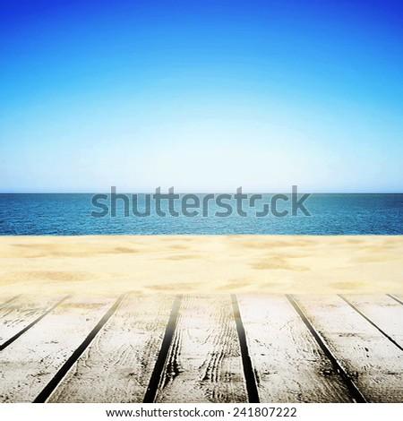 Beach walking path near sand and beauty sea - stock photo