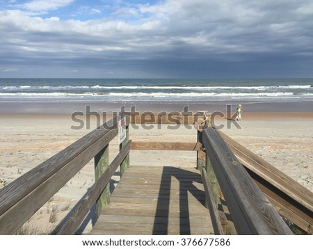 Beach walkover - stock photo