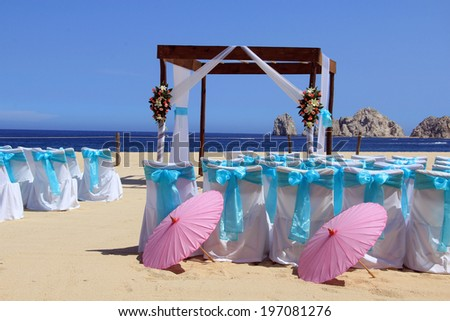 Beach wedding ceremony set up in Cabo San Lucas. Also available in vertical.  - stock photo