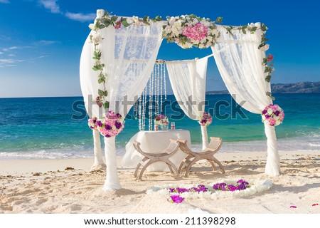 Beach Wedding Set Up Tropical Outdoor Reception Beautiful Cabana Arch