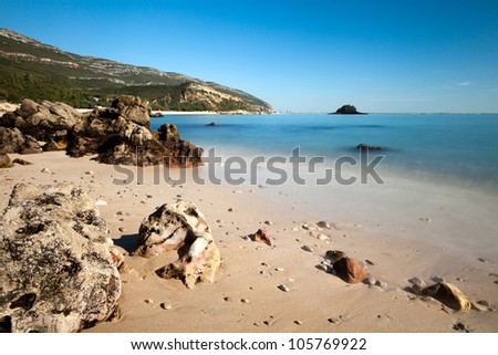 Beach with awesome rocks. Natural Park of Arrabida.
