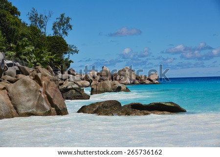 Beach with big stones and white sand, Seychelles