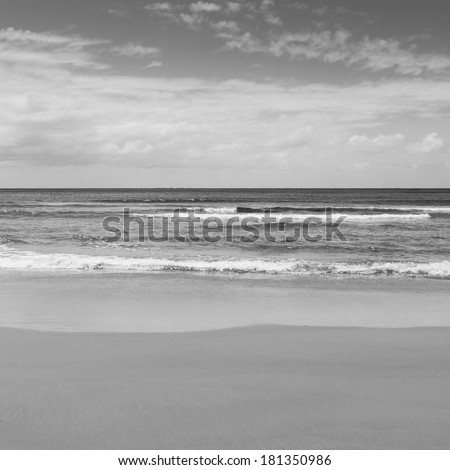 Beach with blue sky and blue water lapping the sand in black and white - stock photo