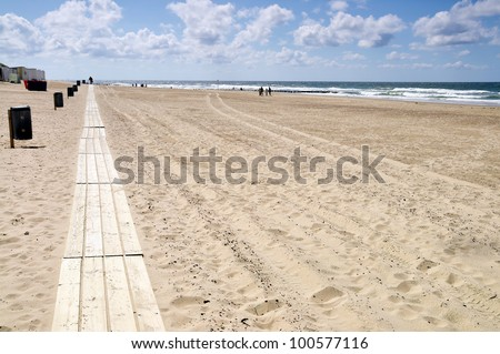 Beach with boardwalk in Domburg, Holland