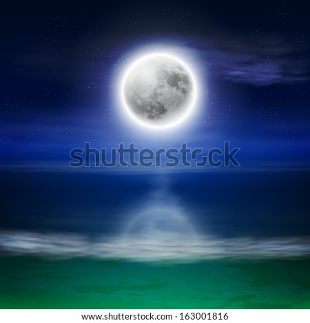 Beach with full moon at night. Raster version. - stock photo
