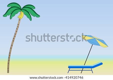 Beach with palm trees for tourist seaside holidays - stock photo