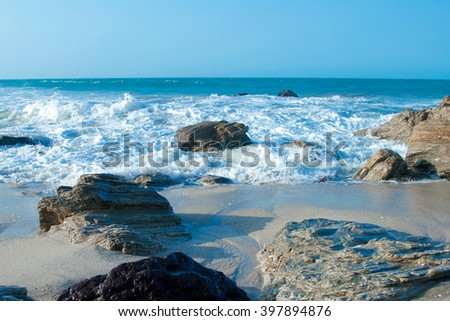 Beach with rocks and sand