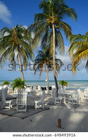 Beach with tables and chairs surrounded by palm trees.