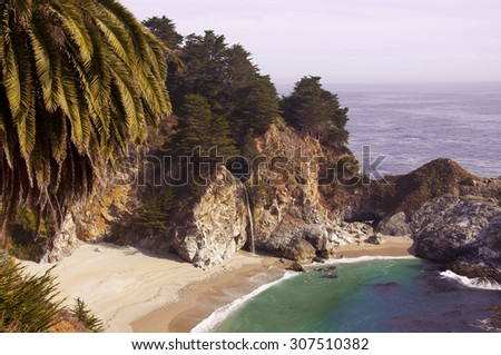 Beach with the waterfall, Big Sur coastal line, California, USA - stock photo