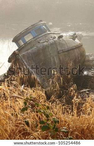 Beached Boat in Fog. The wreck of an old fishboat beached on the shore of a slough off the Fraser River. British Columbia, Canada. - stock photo