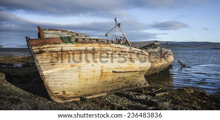 Beached Boats on the Isle of Mull in Scotland