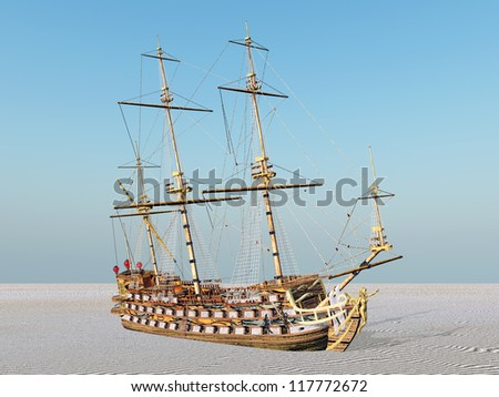 Beached Sailing Ship Computer generated 3D illustration