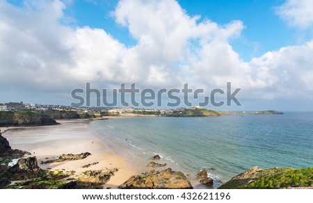 Beaches at Newquay, Cornwall, UK. Tolcarne Beach is in the foreground, Great Western Beach in middle then Towan Beach. Towan Head is in the background.  - stock photo