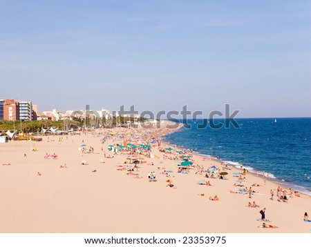 Beaches, coast in Calella.  Catalonia. Spain.