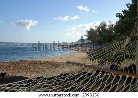 Beachfront Hammock - stock photo