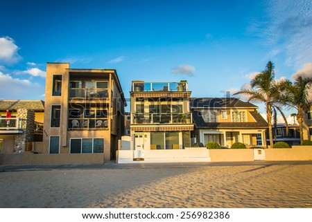Beachfront homes in Newport Beach, California. - stock photo