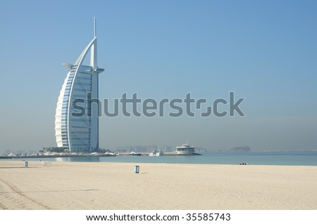 Beachfront hotel in Dubai. United Arab Emirates - stock photo