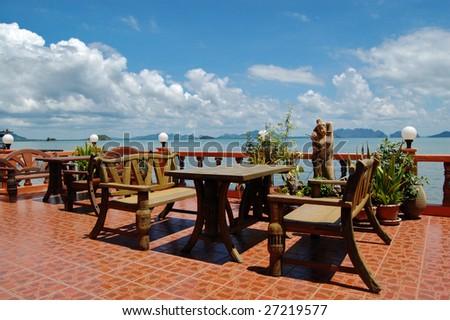 Beachfront restaurant - stock photo