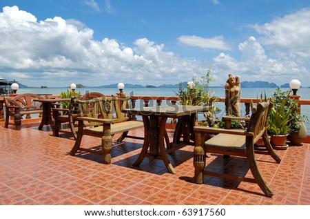 Beachfront restaurant in Chinese style - stock photo