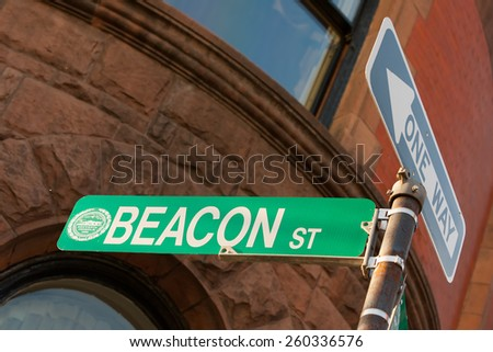 Beacon street sign in famous Boston neighborhood - stock photo