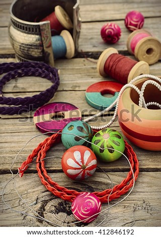 Beads for necklace.Tinted - stock photo