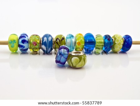 Beads in a row - stock photo