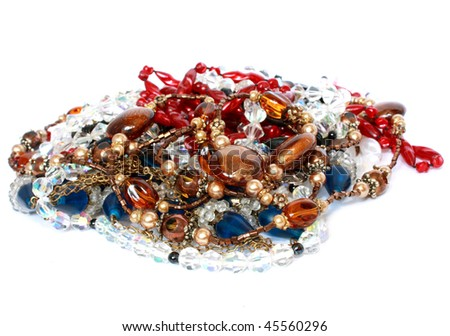 beads isolated over white - stock photo