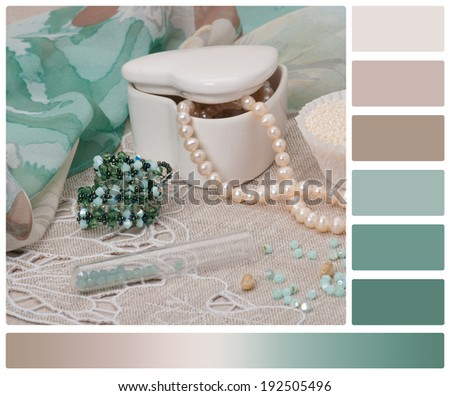 Beads Jewelry On Natural Linen Background. Hand Made. Palette With Complimentary Colour Swatches. - stock photo
