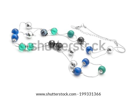 beads necklace isolated on white background