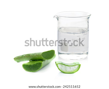 Beaker and aloe vera fresh leaf. isolated over white background - stock photo