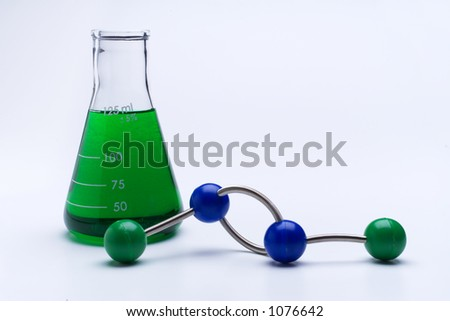 Beaker and molecule on white - stock photo
