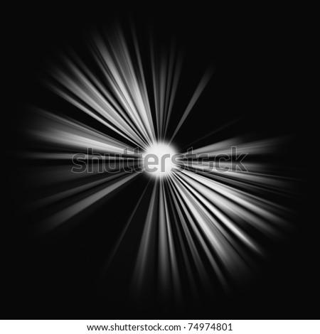 Beams of light: shining star in the dark. Large resolutin - stock photo