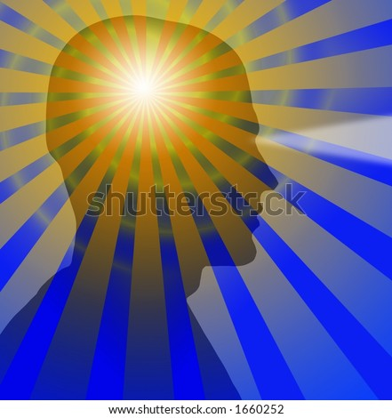 Beams radiate from a sillouette of a head - stock photo